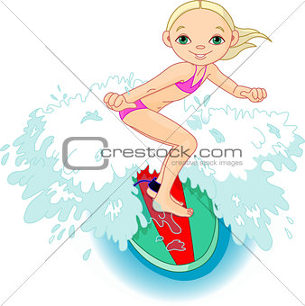 Surfer girl in Action