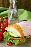 snack sandwiches (panini) with vegetables and ham