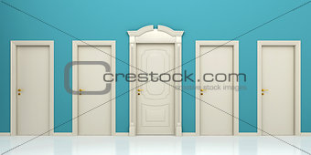 Five doors on a blue background