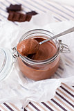 Chocolate dessert  in a glass jar