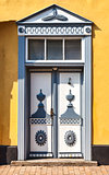 Fringed door in the medieval city of Tonder, Denmark
