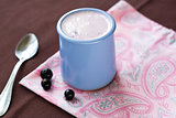Homemade yogurt with berries in a ceramic bowl on a pink tablecloth