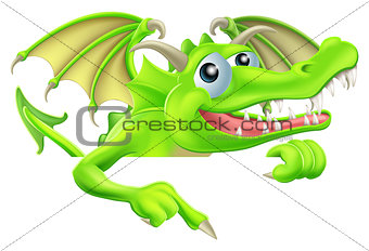 Cartoon Dragon Pointing Down