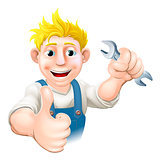 Cartoon mechanic or plumber with wrench