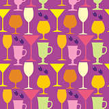 Seamless wine glasses pattern