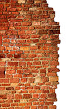 isolated brick wall, red & old