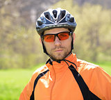 Portrait of Young Cyclist in Helmet