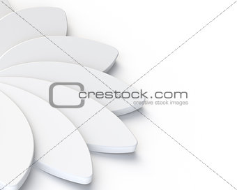 3D Abstract White Flower on White Background