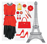 Fashion set with the Eiffel Tower