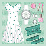 Fashion set in pastel tones with a dress
