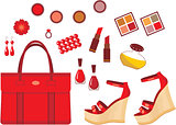 Set of red accessories