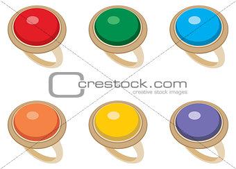 Set of female jeweler rings