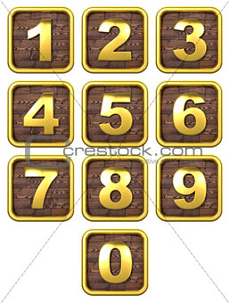 3D Set of Gold Metal Numbers.