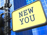 New You - Road Sign. Motivation Slogan.