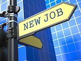 New Job - Road Sign. Motivation Slogan.