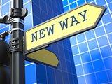 New Way - Road Sign. Motivation Slogan.