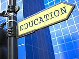 "Education Concept. ""Education"" Roadsign."
