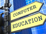 "Education Concept. ""Computer Education"" Roadsign."