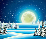 Full moon and snowy forest at night.