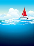 Yacht with red sail and sea waves.