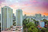 Sunset Over Singapore Housing Estate