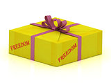 FREEDOM stamp on gift box 