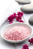 pink bath salt in bowl