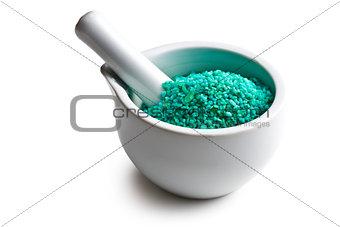 green bath salt in mortar
