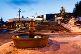 Beautiful Fountain in Megeve At Morning, French Alps