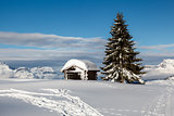 Small Hut on the Mountain Peak in French Alps, Megeve, France