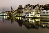Zurich Skyline and the River Limmat in the Night, Switzerland
