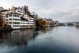 Zurich Skyline and the River Limmat in the Evening, Switzerland