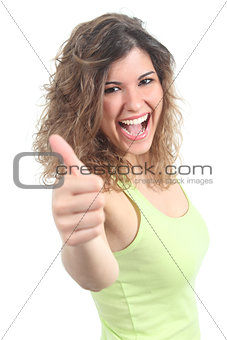 Portrait of a pretty teenager with thumb up