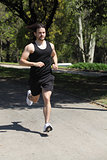 Sportsman running on a park