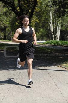 Sportsman running on a park