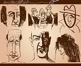 people faces cartoon sketch drawings set