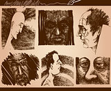 people faces sketch drawings set