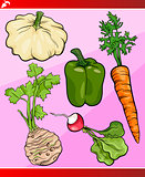 vegetables set cartoon illustration