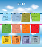 Colorful Spanish calendar for 2014
