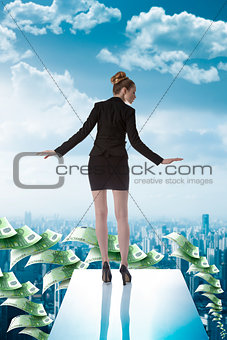 business woman on the edge of trampoline
