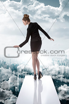 elegant business woman in the financial crisis