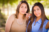 Two Mixed Race Twin Sisters Portrait