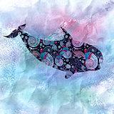 ornamental silhouette whale