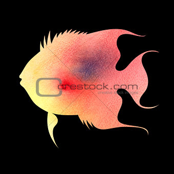 watercolor silhouette of fish