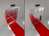 Elevator with red carpet