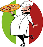 Chef on roller skates bringing pizza