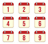 Vector calendar app icons. 1 to 9 days