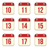 Vector calendar app icons. 10 to 18 days