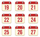 Vector calendar app icons. 19 to 27 days