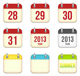 Vector calendar app icons. 28 to 31 days and blank sheets